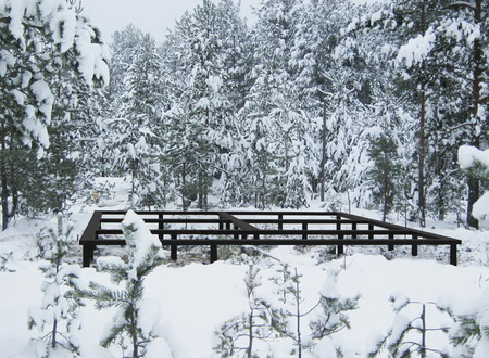 Винтовой фундамент зимой 6х6